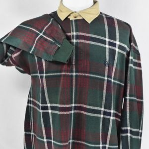 Nautica Men's Red/Pine and Navy Plaid XL Rugby
